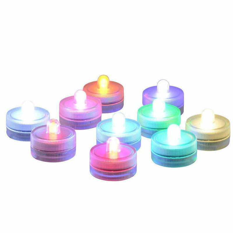 10-Pieces: RGB Submersible Waterproof LED Tea Lights Flameless Candles Lighting & Decor - DailySale
