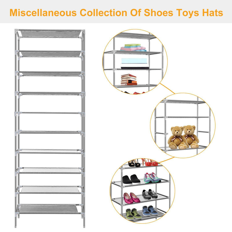 10-Tier Shoe Rack Shelves 27 Pairs Shoes Organizer Closet & Storage - DailySale