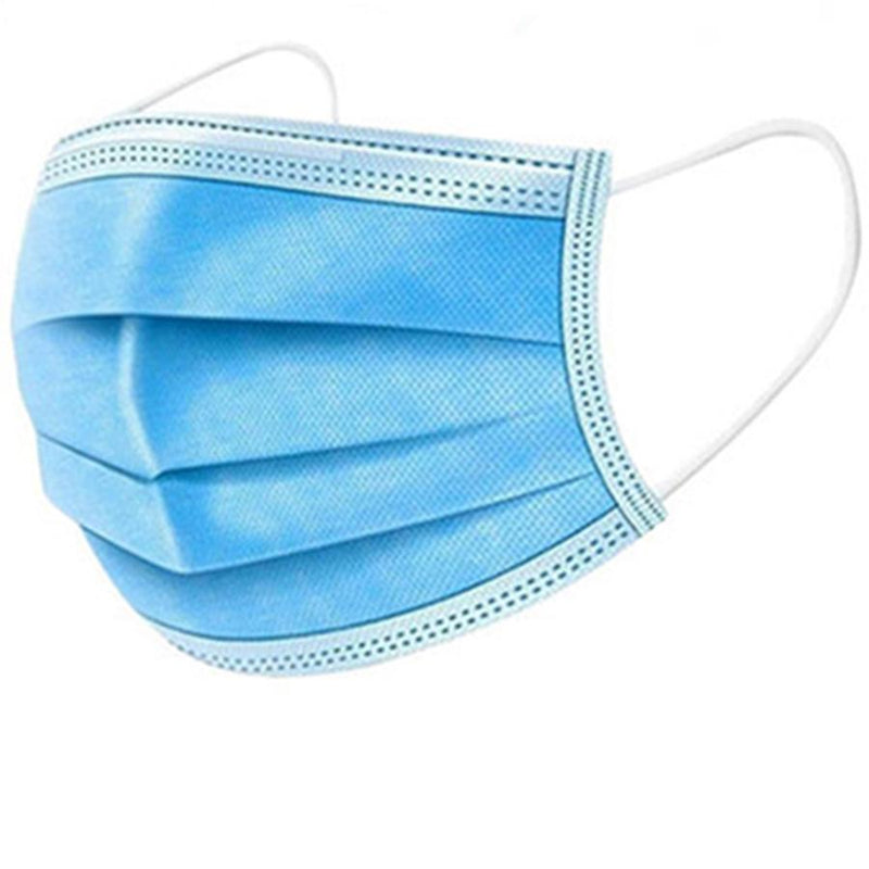 100-Pack: 3 Layer Disposable Protective Face Masks Face Masks & PPE Blue - DailySale