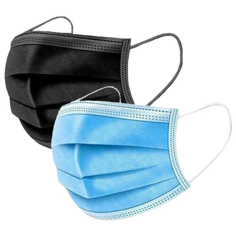 100-Pack: 3 Layer Disposable Protective Face Masks Face Masks & PPE Blue/Black - DailySale