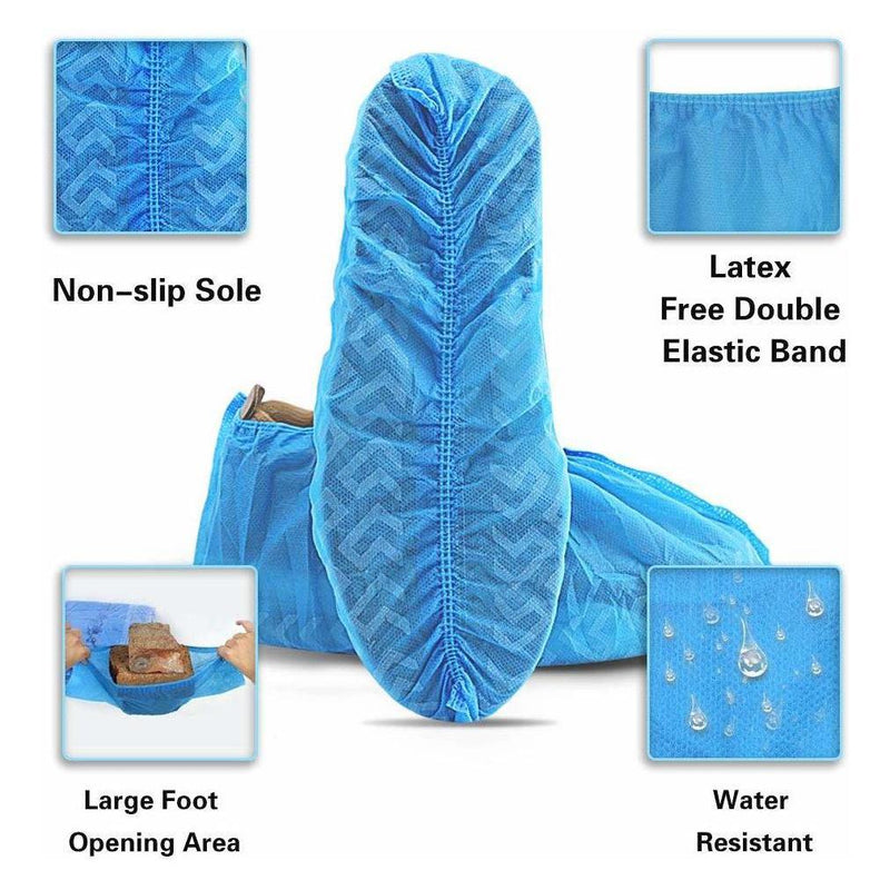 100-Pairs: Shoe Cover 40G Blue Large Pairs Non Skid (Non Woven) Face Masks & PPE - DailySale