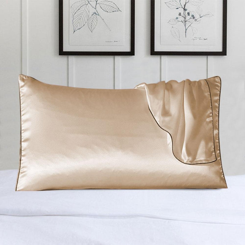 100% Silk Pillow Cover With Trim Linen & Bedding Beige - DailySale