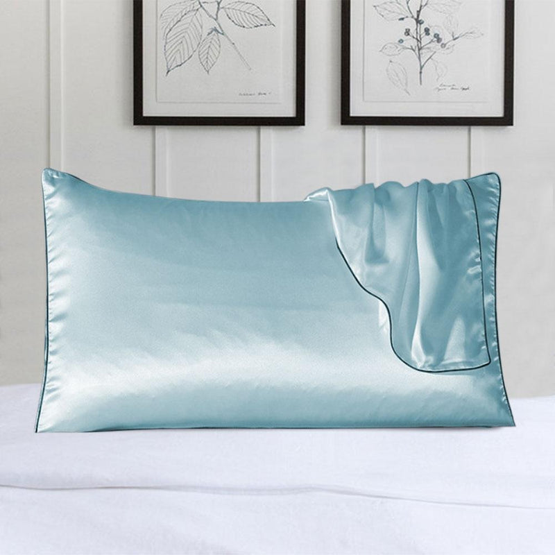 100% Silk Pillow Cover With Trim Linen & Bedding Blue - DailySale