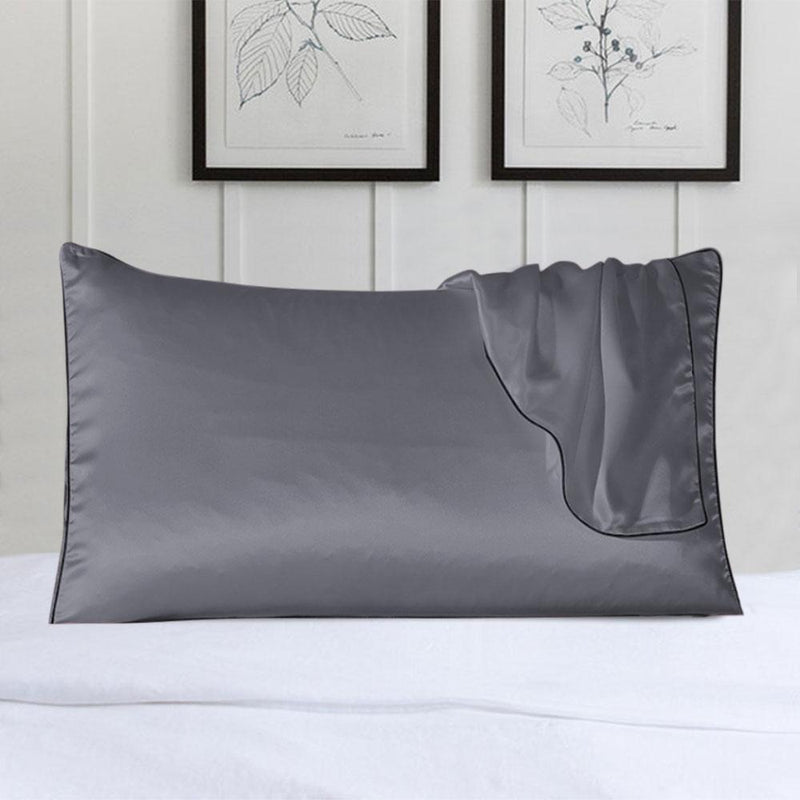100% Silk Pillow Cover With Trim Linen & Bedding Gray - DailySale