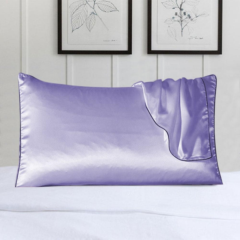 100% Silk Pillow Cover With Trim Linen & Bedding Lavender - DailySale
