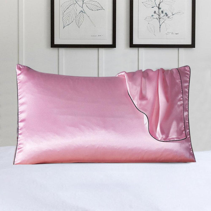 100% Silk Pillow Cover With Trim Linen & Bedding Pink - DailySale