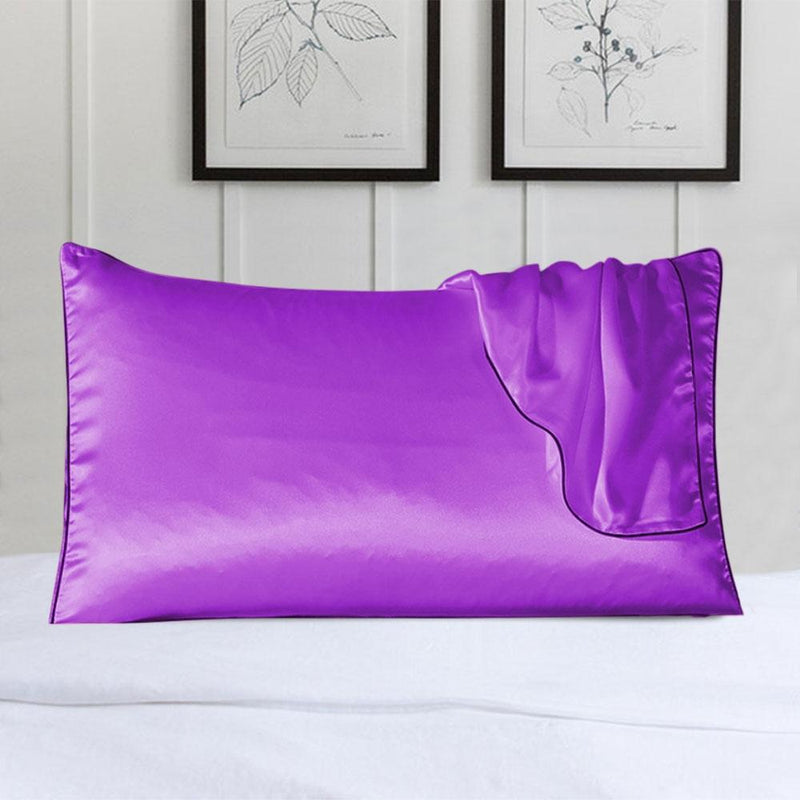 100% Silk Pillow Cover With Trim Linen & Bedding Purple - DailySale