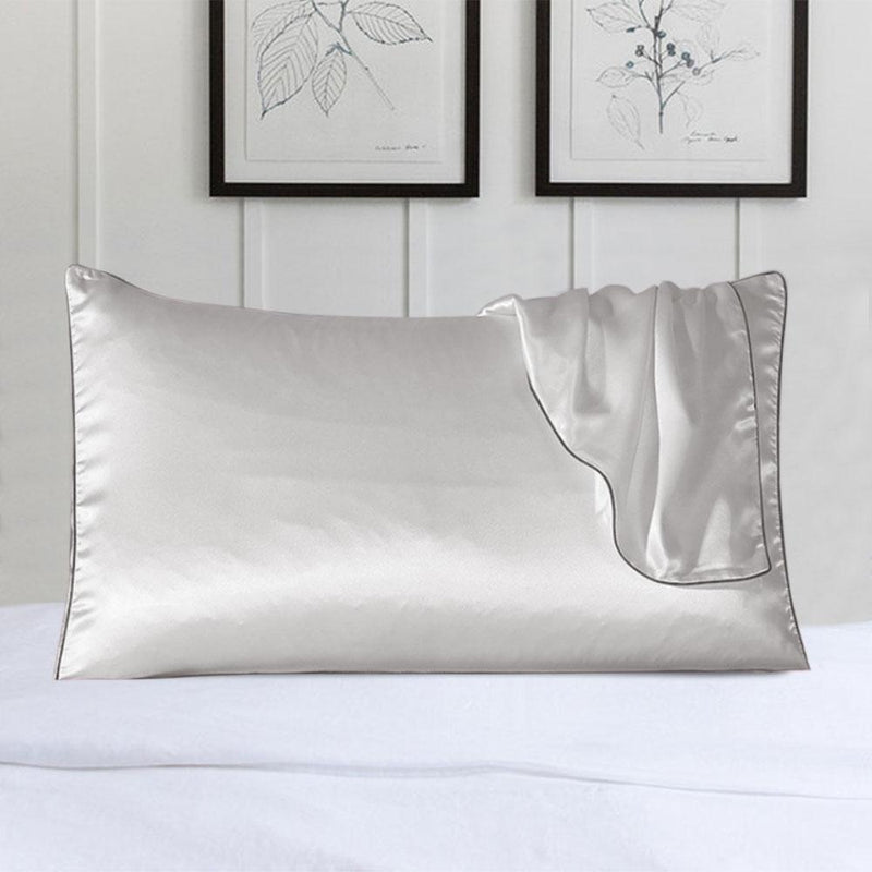 100% Silk Pillow Cover With Trim Linen & Bedding White - DailySale