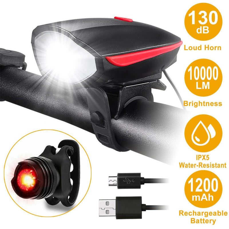 10000LM Bike Headlight USB Rechargeable Sports & Outdoors - DailySale