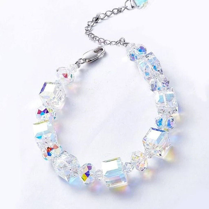 10Ct Aurora Borealis Cube & Sphere Adjustable Bracelet Made with Swarovski Crystals Jewelry - DailySale