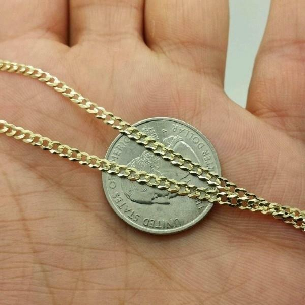10K Gold Cuban 3MM Link Chain - Assorted Sizes Jewelry - DailySale