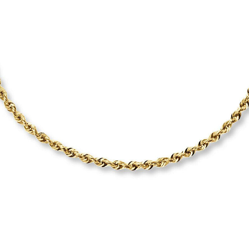 10k Solid Gold Rope Chain 2.5mm Necklaces 16 - DailySale