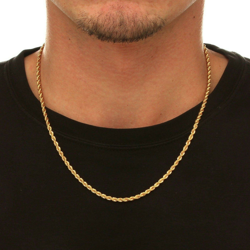 10k Solid Gold Rope Chain 2.5mm Necklaces - DailySale