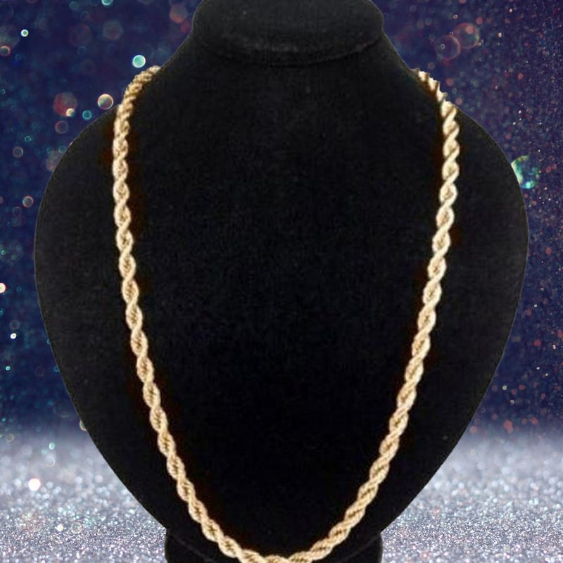 "10K Solid Gold Rope Chain Jewelry 16"" - DailySale"