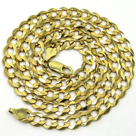 "10K Solid Yellow Gold 7mm Curb Cuban Chain Link Pendant Necklace Necklaces 20"" - DailySale"
