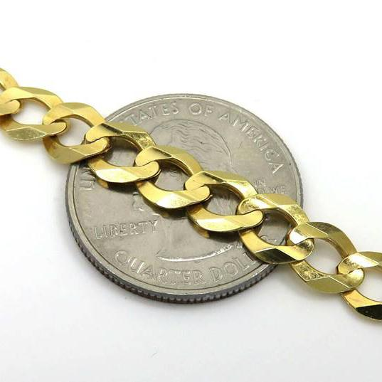 10K Solid Yellow Gold 7mm Curb Cuban Chain Link Pendant Necklace Necklaces - DailySale