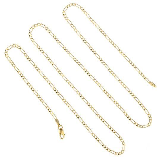 "10K Solid Yellow Gold Figaro Necklace Chain Jewelry 16"" - DailySale"
