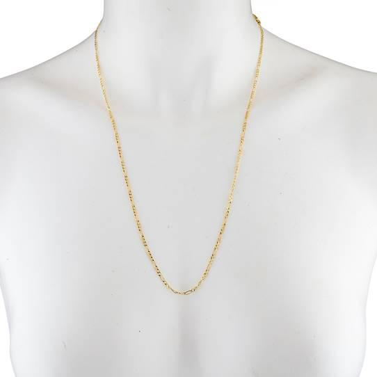 10K Solid Yellow Gold Figaro Necklace Chain Jewelry - DailySale
