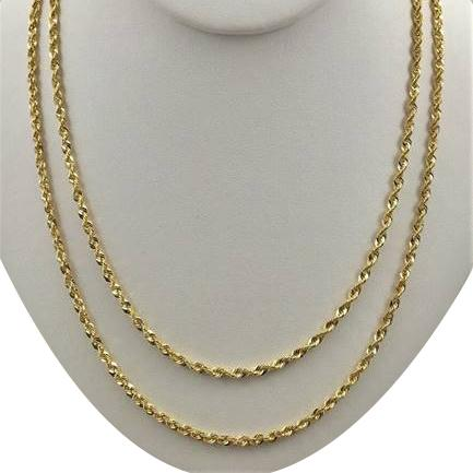 10K Yellow Gold 3.5mm Unisex Diamond Cut Rope Chain Necklace Necklaces - DailySale