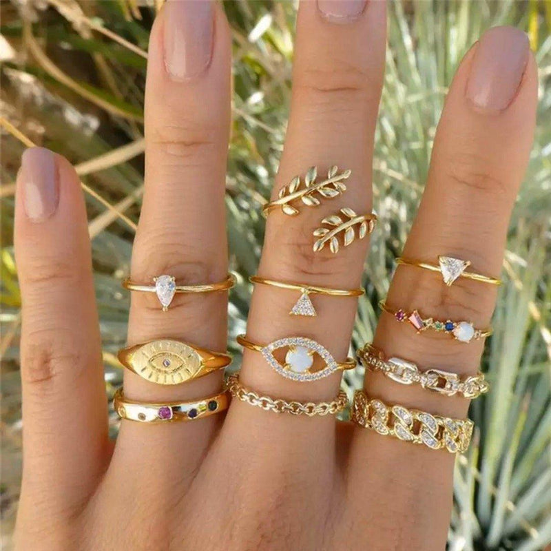 11 Piece: Cute and Kitschy Opal & Crystal Pav'e Ring Set Jewelry - DailySale