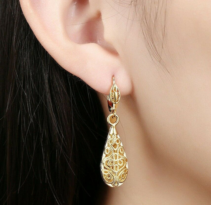 18K Gold Laser Cut Filigree Drop Earrings - Assorted Colors - DailySale, Inc