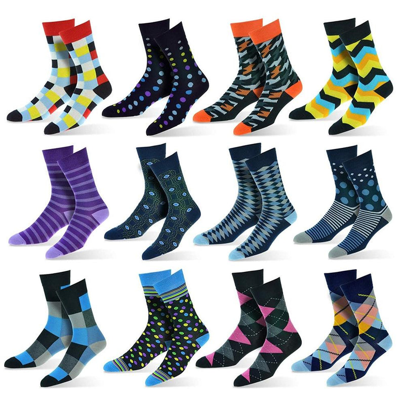 12-Pack: Cotton Fashion Patterned Men's Socks Men's Apparel Collection B - DailySale
