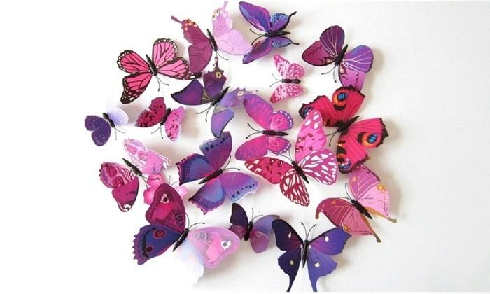 12-Piece Set: 3D Butterfly Magnets - Assorted Colors Furniture & Decor - DailySale