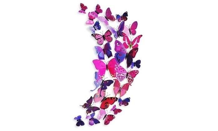 12-Piece Set: 3D Butterfly Magnets - Assorted Colors Furniture & Decor Pink - DailySale