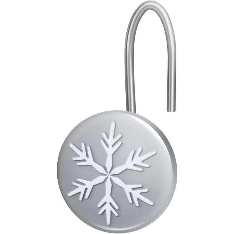 12-Pieces: Christmas Snowflake Anti-Rust Round Shower Curtain Hooks Bath - DailySale