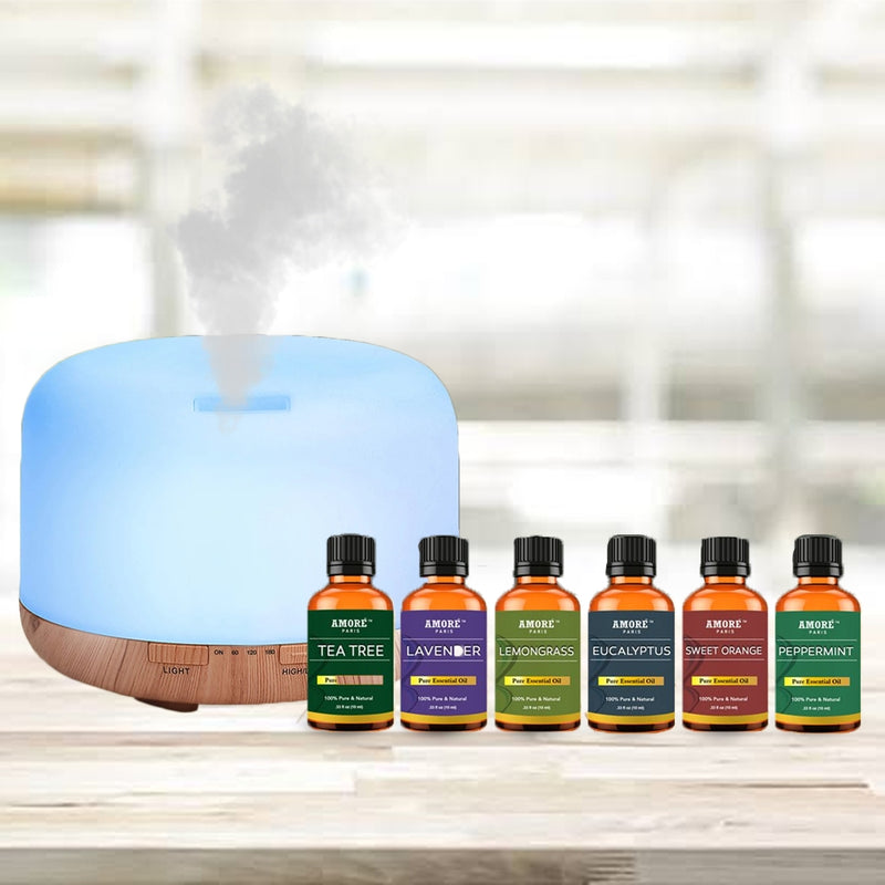 7-Piece Set: 5-in-1 Premium Ultrasonic Aromatherapy Diffuser with Essential Oil - DailySale, Inc