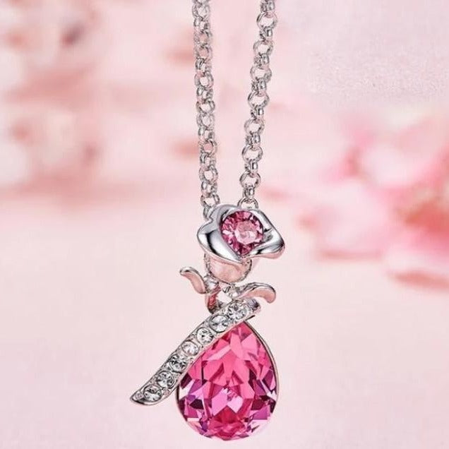 Aquamarine Waterdrop with Pink Topaz Rose Necklace - DailySale, Inc