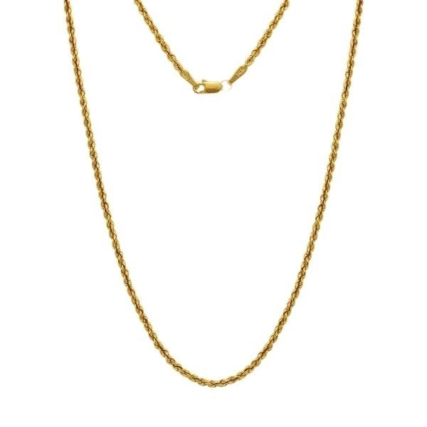 14-Karat Solid Gold Diamond-Cut Rope Chain - Assorted Sizes Jewelry - DailySale