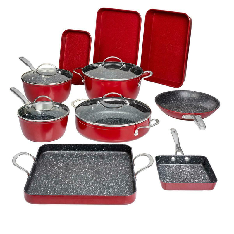 14-Piece Set: DuraPan Nonstick All-Purpose Cookware Kitchen & Dining Red - DailySale