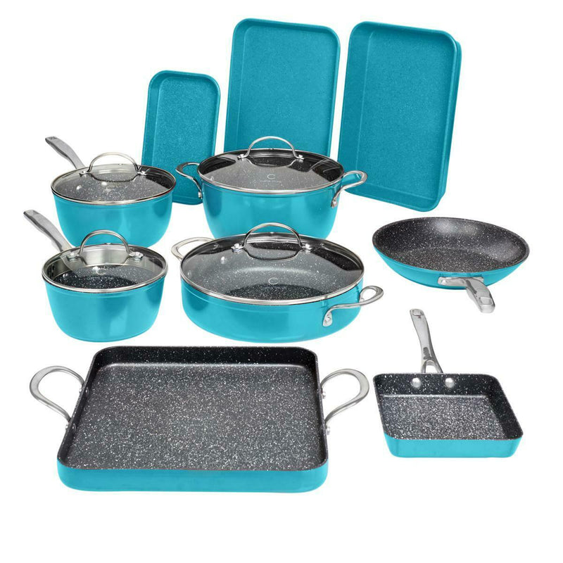 14-Piece Set: DuraPan Nonstick All-Purpose Cookware Kitchen & Dining Turquoise - DailySale