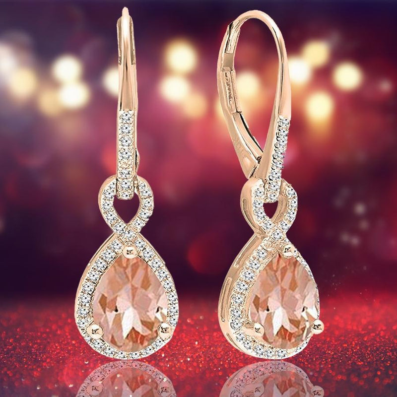 14K Gold 3.00 CTTW Morganite Dangling Inception Twisted Earrings Jewelry - DailySale