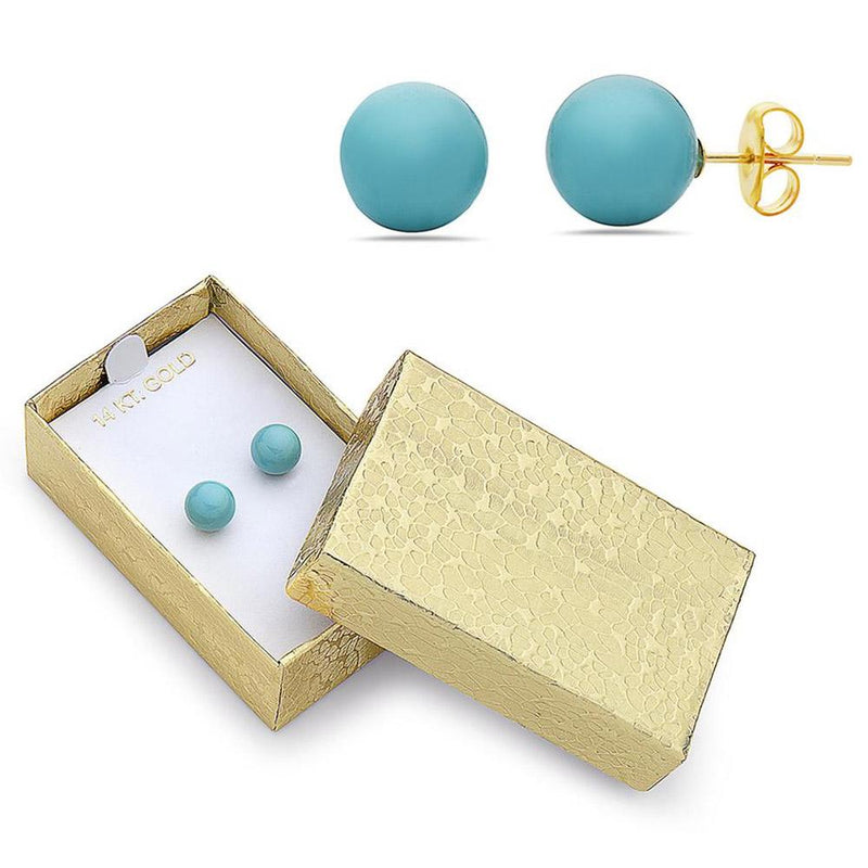 14K Gold Created Turquoise Stud Earrings by MUIBLU Gems Jewelry - DailySale