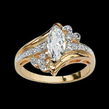 14k Gold Overlay Marquise-Cut Cubic Zirconia Solitaire Ring Rings - DailySale