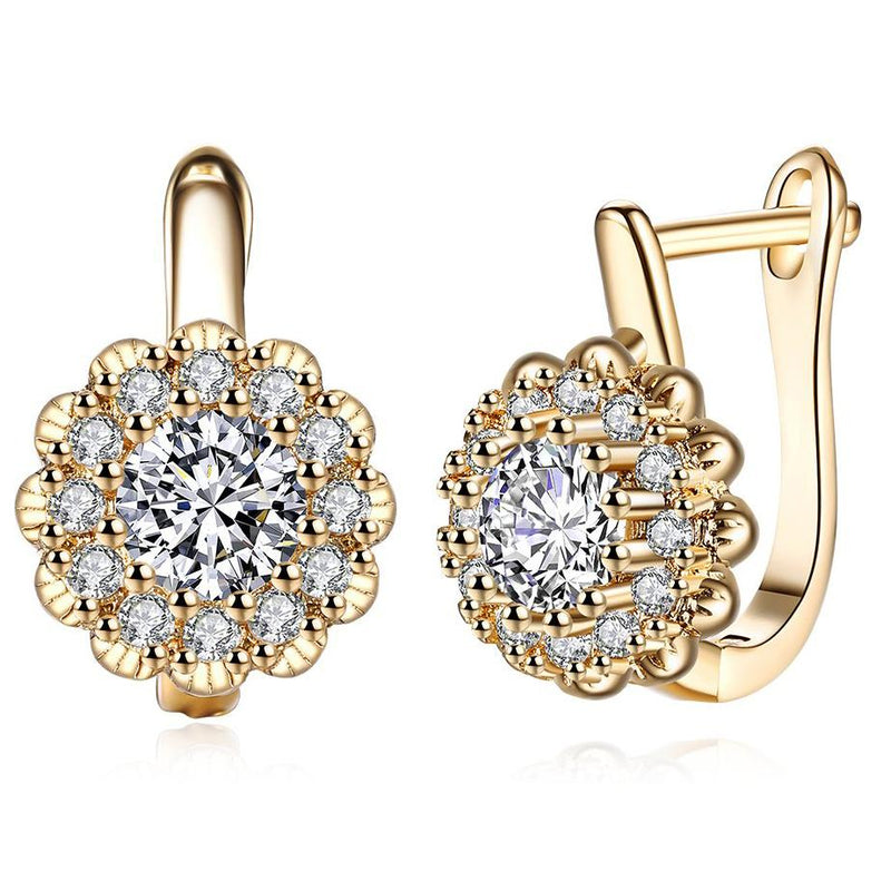 14K Gold Plating Large Floral White Swarovski Pav'e Huggies Earrings - DailySale