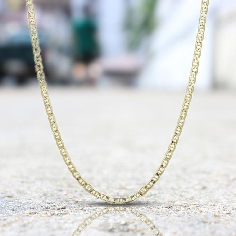 "14K Solid Yellow Gold 2.5mm Marina Chain Jewelry 16"" - DailySale"