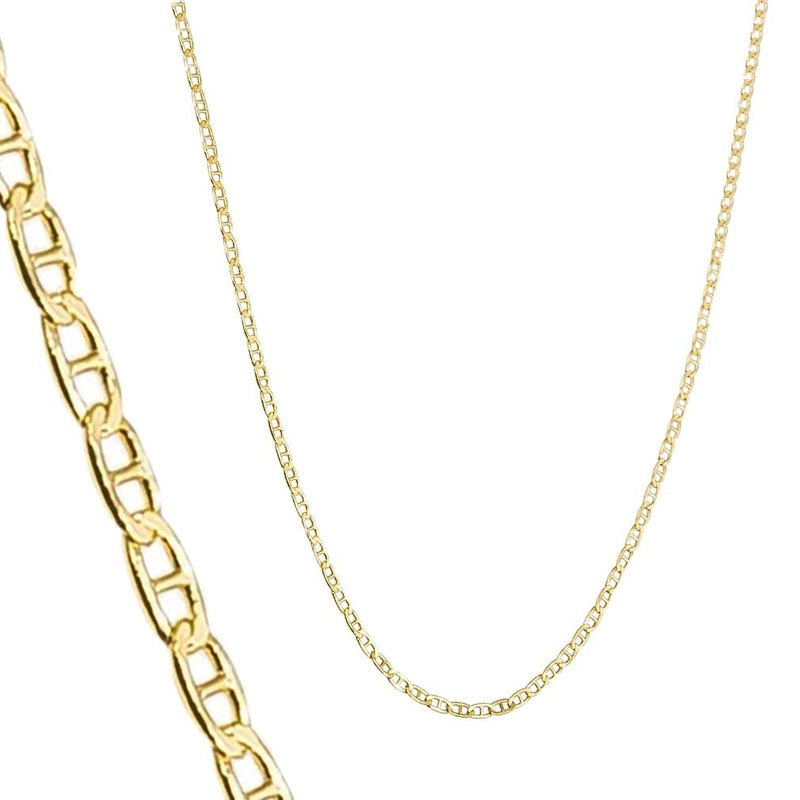 14K Solid Yellow Gold 2.5mm Marina Chain Jewelry - DailySale