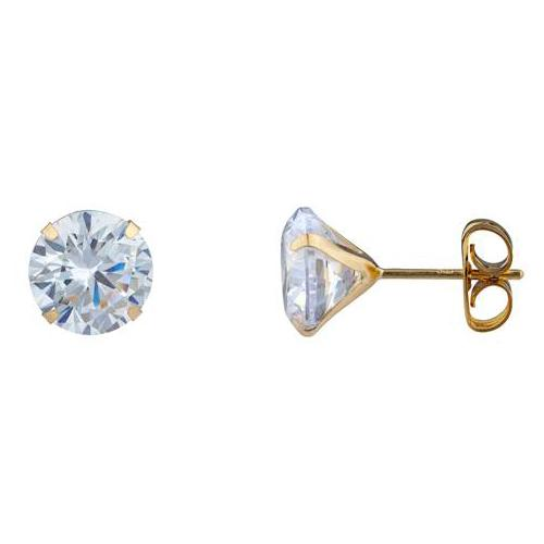 14K Solid Yellow Gold Brilliant Bright Round AAA CZ Stud Earring Jewelry 2MM - DailySale