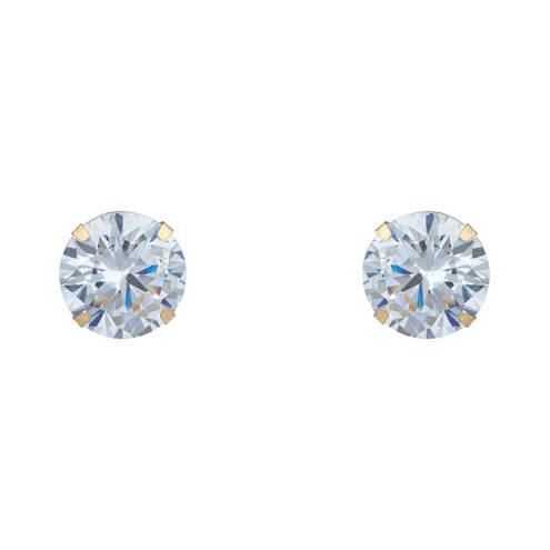 14K Solid Yellow Gold Brilliant Bright Round AAA CZ Stud Earring Jewelry - DailySale