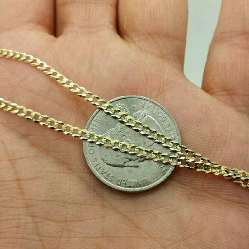 14K Solid Yellow Gold Cuban Link Chain Necklace Jewelry - DailySale