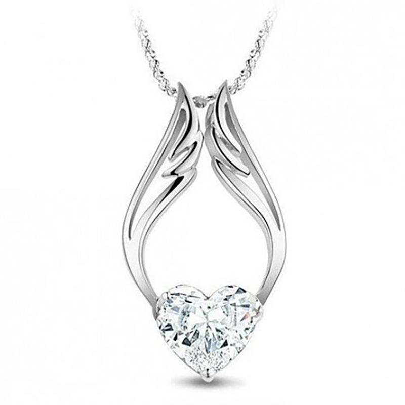 14K White Gold Guardian Angel Necklace with Swarovski Crystals Jewelry - DailySale