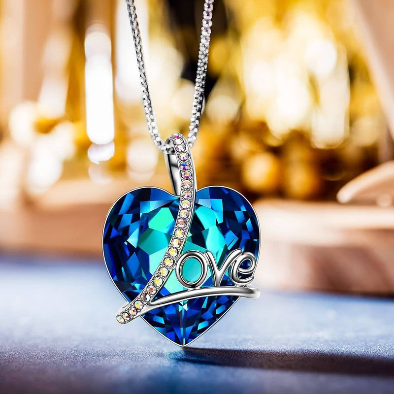 14K White Gold Plated Blue Sapphire Heart Shaped Pendant Necklace Jewelry - DailySale