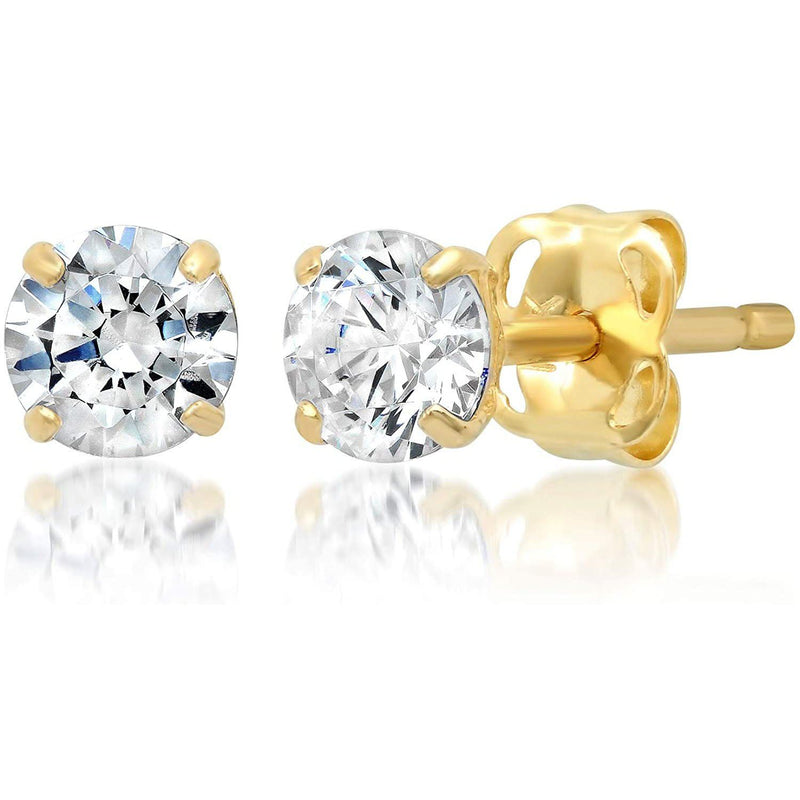 14k Yellow Gold 6 MM Round White Cubic Zirconia Stud Earrings Jewelry - DailySale