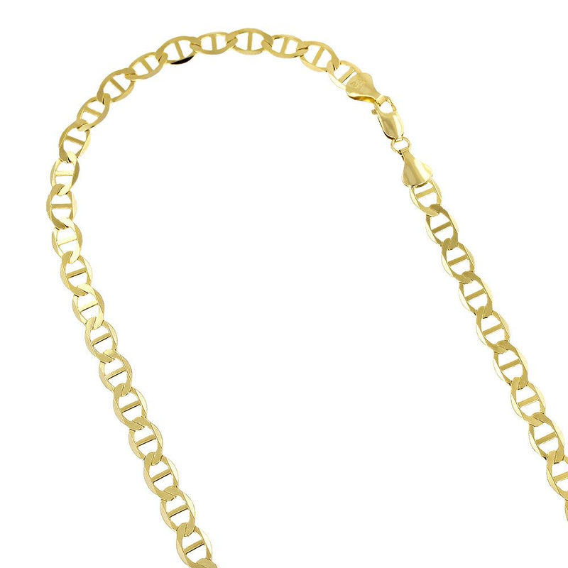 14K Yellow Gold Over 925 Silver Flat Mariner Chain 2MM Necklaces - DailySale