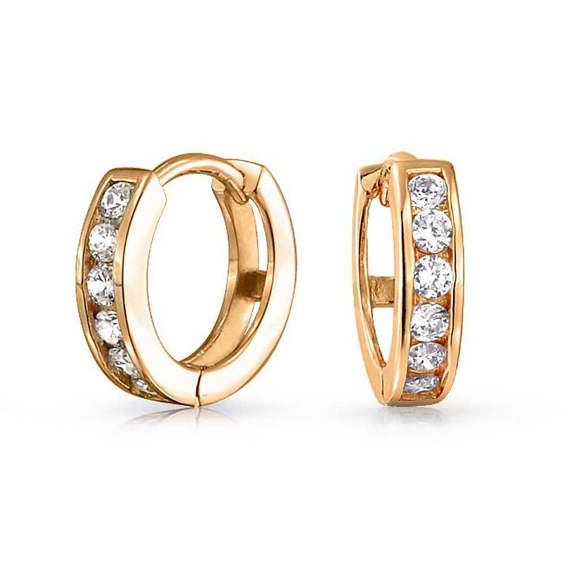 14K Yellow Gold Plating and CZ Huggie Earring Earrings - DailySale