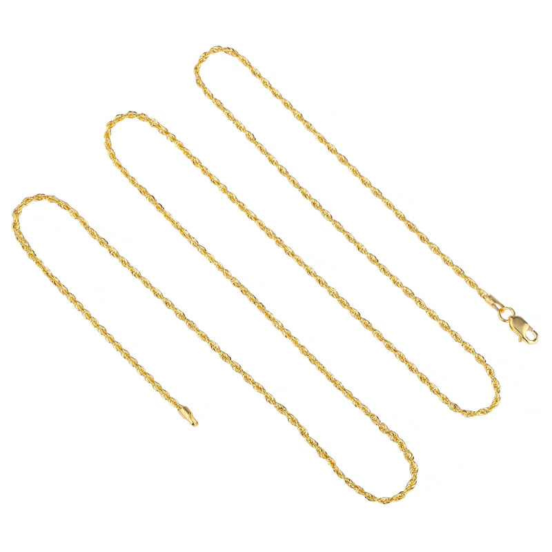 "14K Yellow Gold Solid Rope Chain Necklaces 16"" - DailySale"