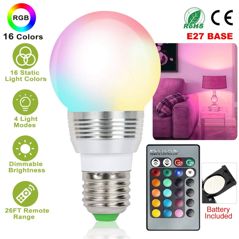 16 Colors Change LED Bulbs E27 3W RGD Dimmable Mood Lighting Lamp Lighting & Decor - DailySale